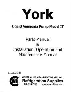 York IT Pump Parts & Maintenance Manual